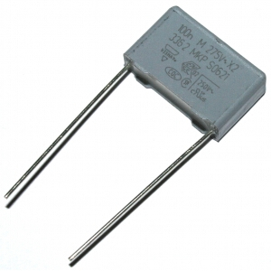 Bezpečnostní kondenzátor MKP3362 100nF/275VAC- Vishay: 0,90Kč/ks