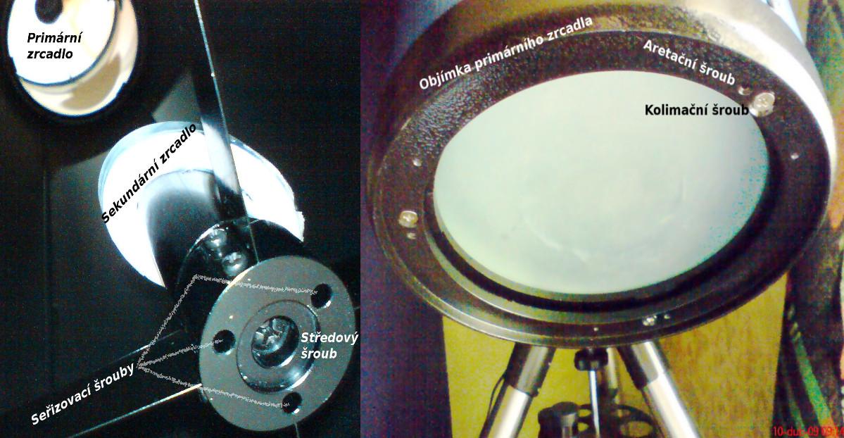 Seřizovací prvky zrcadel dalekohledu.